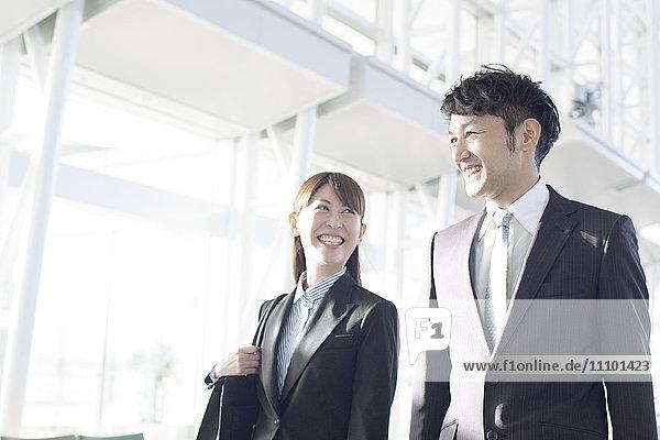 Business people smiling  Fukuoka Prefecture  Kyushu  Japan