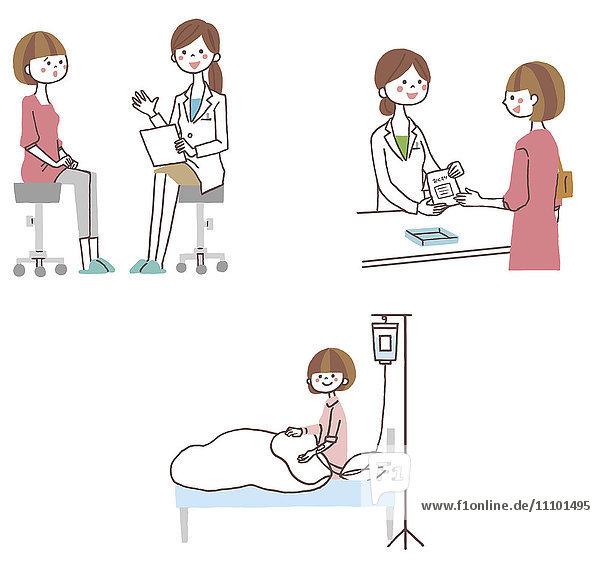 Illustration of woman at hospital