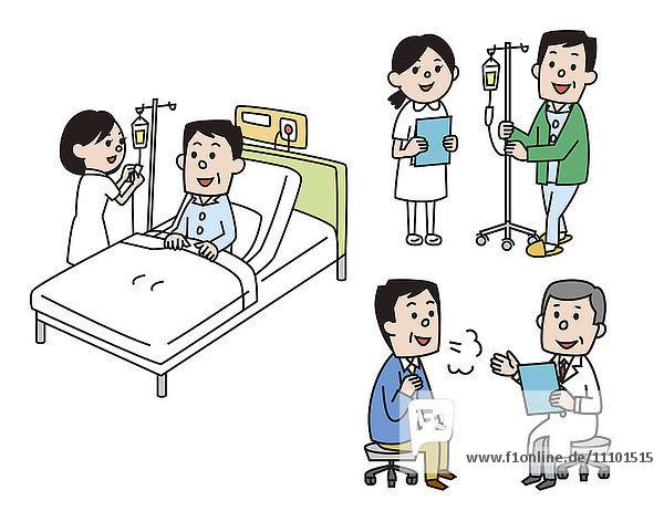 Illustration of man at hospital