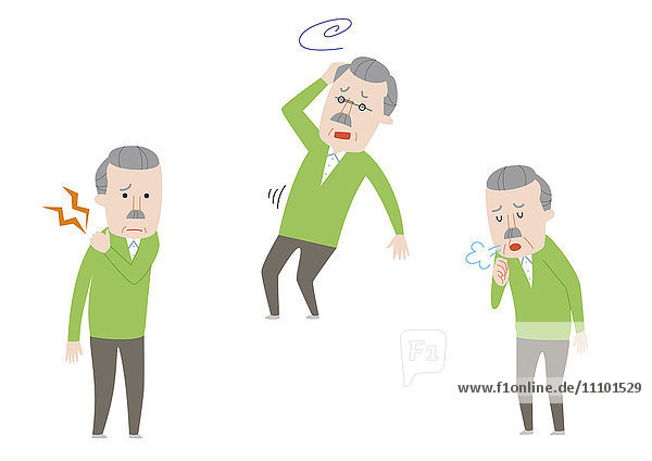 Illustration of senior man with backache  dizziness and coughing