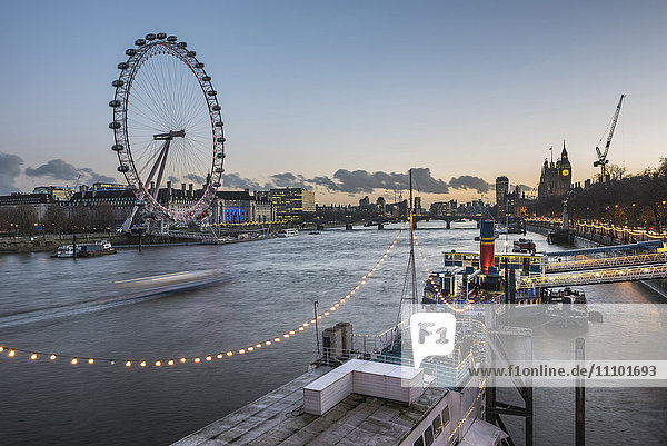Tattershall Castle (River Thames Boat Restaurant) and The London Eye at night seen from Embankment  London  England  United Kingdom  Europe