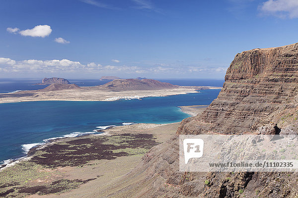 View from Famara Mountains to La Graciosa Island  Lanzarote  Canary Islands  Spain  Atlantic  Europe