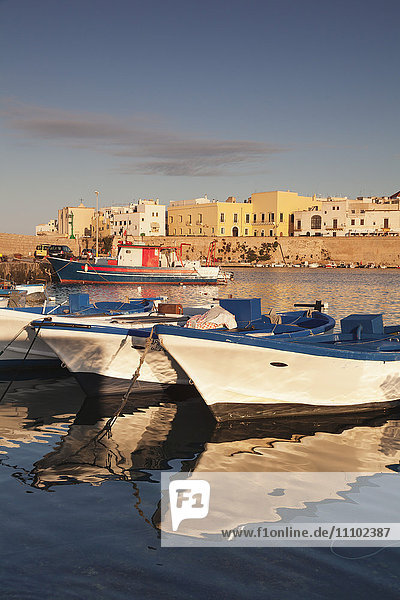 Fishing boats at the port  old town at sunrise  Gallipoli  Lecce province  Salentine Peninsula  Puglia  Italy  Europe