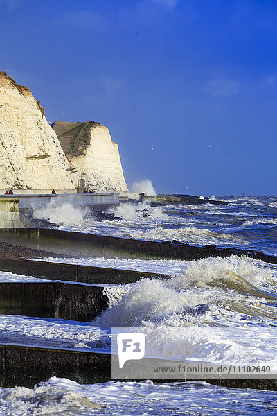 The white chalk cliffs at Peacehaven  near Brighton  East Sussex  England  United Kingdom  Europe