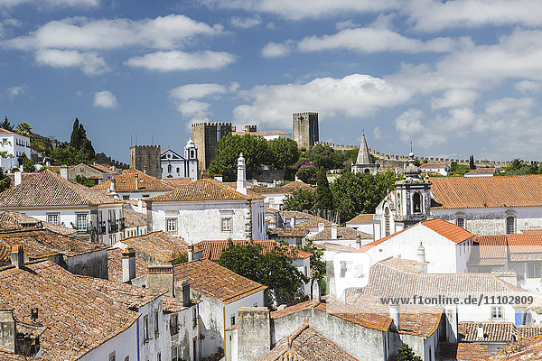 View of the ancient castle of Obidos originated in an early Roman settlement  Obidos  Oeste Leiria District  Portugal  Europe