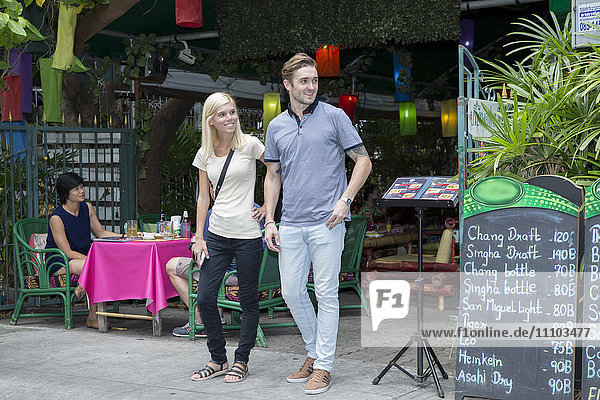 Tourists near Khao San road in Bangkok  Thailand  Southeast Asia  Asia