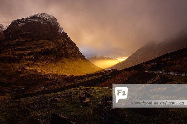 Glencoe Sunset  Scottish Highlands  Scotland  United Kingdom  Europe