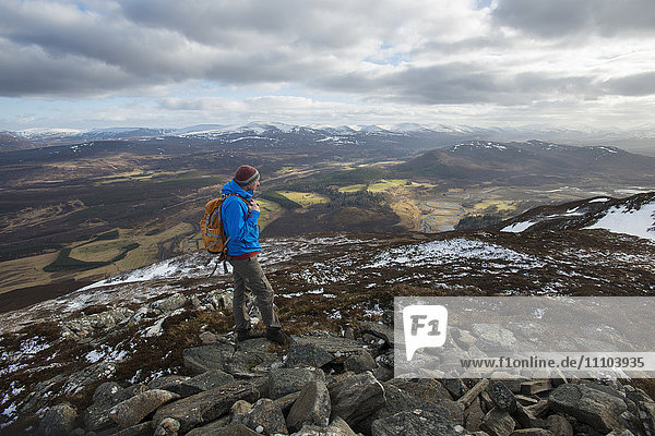 A view across the Cairngorms from the top of Creag Dubh near Newtonmore  Cairngorms National Park  Scotland  United Kingdom  Europe