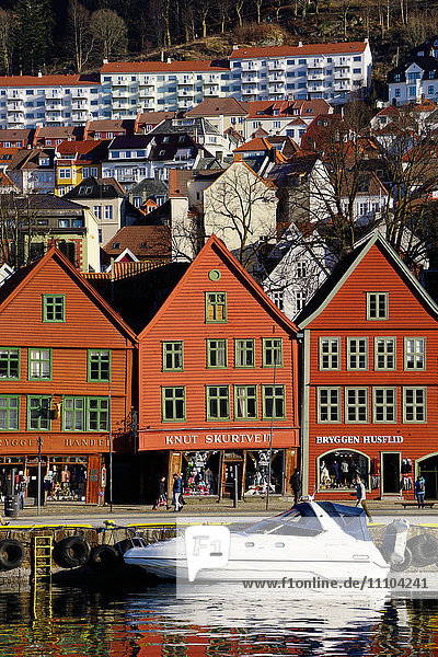 Traditional wooden Hanseatic merchants buildings of the Bryggen  UNESCO World Heritage Site  Bergen  Hordaland  Norway  Scandinavia  Europe
