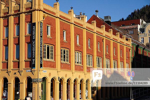 Hanseatic museum building  Bryggen  Bergen  Norway  Hordaland  Scandinavia