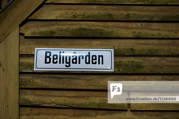 Sign for one of the small alleyways in the Hanseatic quarter  Bryggen  Bergen  Hordaland  Norway  Scandinavia  Europe