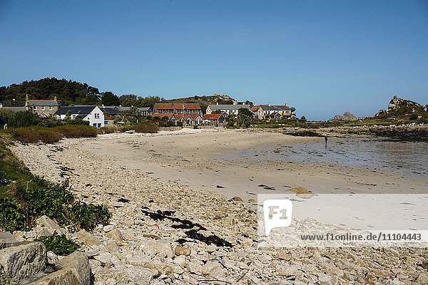 Beach at Old Grimsby with Ruin restaurant in background  Tresco  Isles of Scilly  England  United Kingdom  Europe