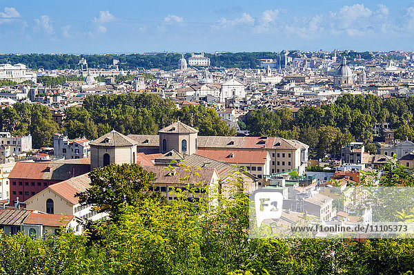 View over city from Janiculum Hill  Rome  Lazio  Italy  Europe