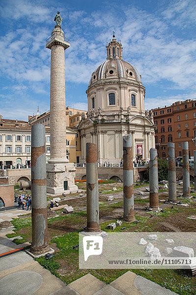 Trajan's Column and Forum  Dome of St. Maria di Loreto  UNESCO World Heritage Site  Rome  Lazio  Italy  Europe