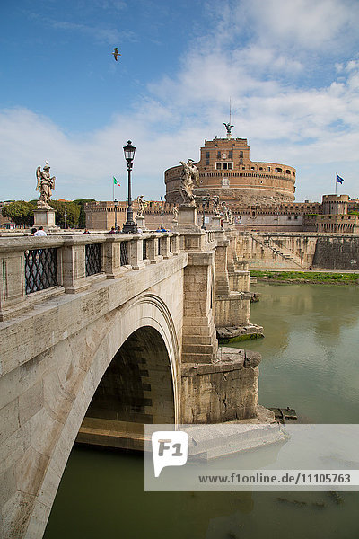 River Tiber and Castel Sant' Angelo  UNESCO World Heritage Site  Rome  Lazio  Italy  Europe