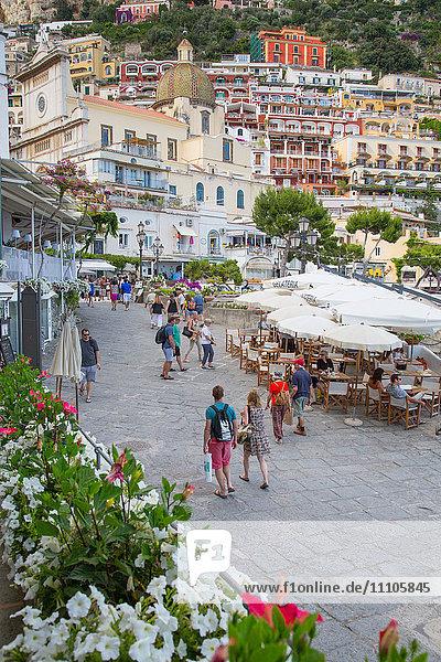 Restaurants on Via Marina Grande  Positano  Province of Salerno  Costiera Amalfitana (Amalfi Coast)  UNESCO World Heritage Site  Campania  Italy  Europe