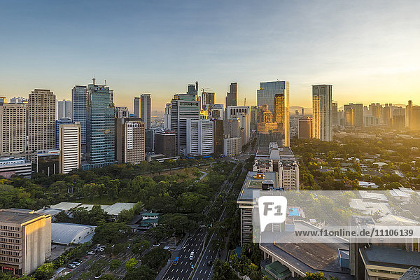 View of the Makati district in Manila at sunrise  Philippines  Southeast Asia  Asia