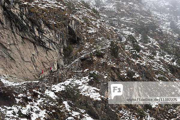 Trekkers make their way along an alternative route via Photse to Everest Base Camp  Himalayas  Nepal  Asia