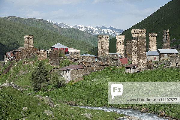 Ushguli village  Svaneti regio  Georgia  Central Asia  Asia
