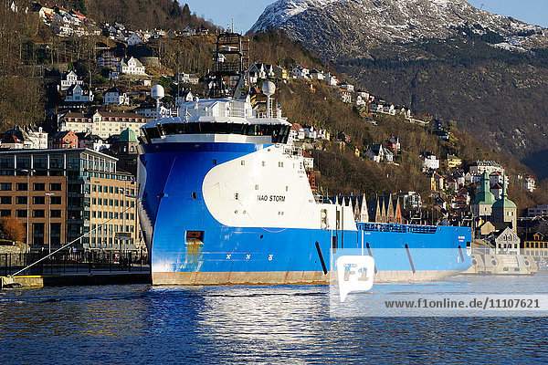 View on the harbour Bergen with oil industry support ship  Hordaland  Norway  Scandinavia  Europe