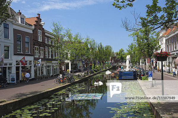 Canal scene in Delft  Holland  Europe