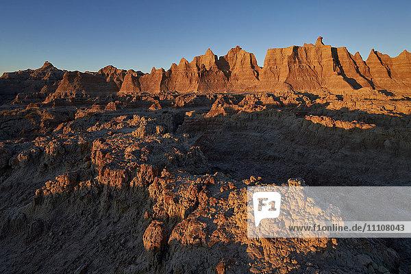 Badlands at first light  Badlands National Park  South Dakota  United States of America  North America