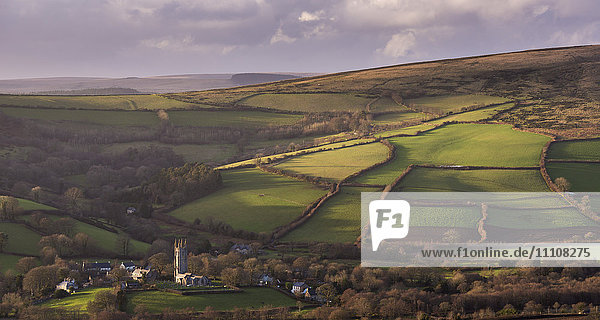 The picturesque village of Widecombe-in-the-Moor  Dartmoor National Park  Devon  England  United Kingdom  Europe