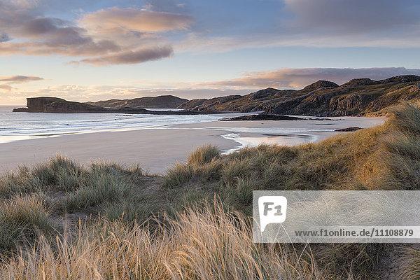 Late evening light on the dunes at Oldshoremore  Sutherland  Scotland  United Kingdom  Europe