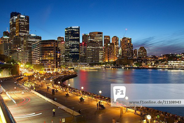 Circular Quay and City at Dusk  Sydney  New South Wales  Australia  Oceania