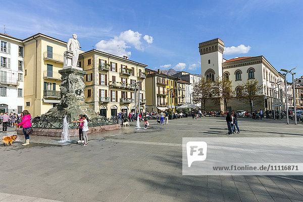 Italy  Lombardy  Lecco  Piazza Cermenati and Palazzo delle Paure