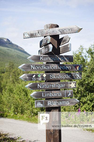 Schweden  Lappland  Abisko  Holzwegweiser entlang des unbefestigten Weges
