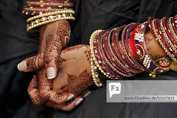 Close up of Indian woman's hands with traditional decoration
