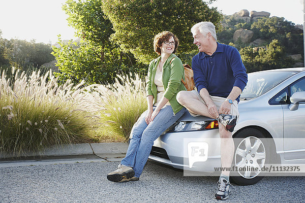 Caucasian couple leaning on car