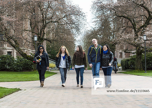 Students walking on campus together