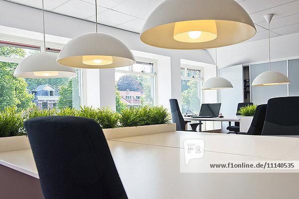 Modern workstation area in office