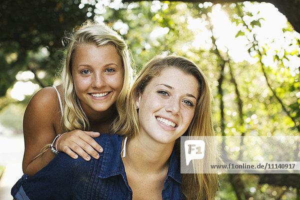 Smiling teenage girls