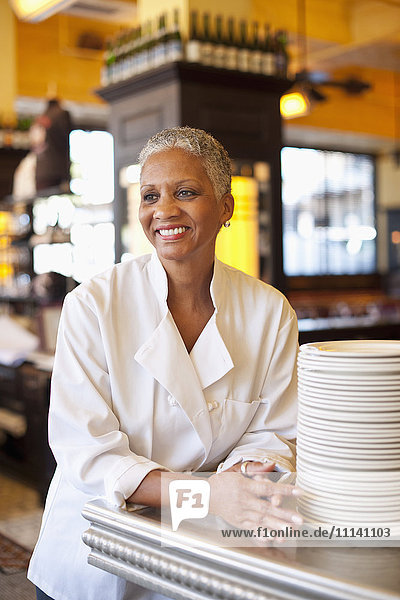 African American chef in cafe