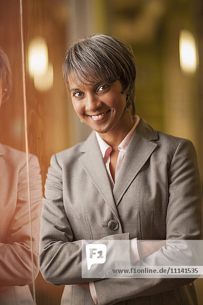 Black businesswoman smiling