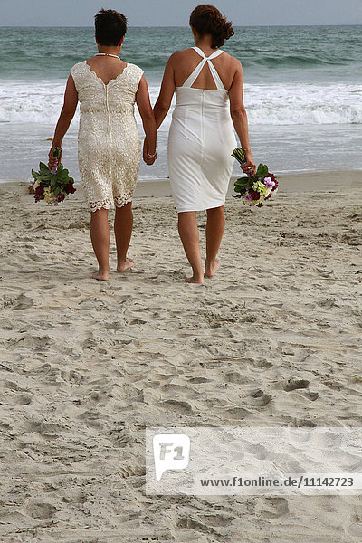 Lesbian brides holding hands on beach