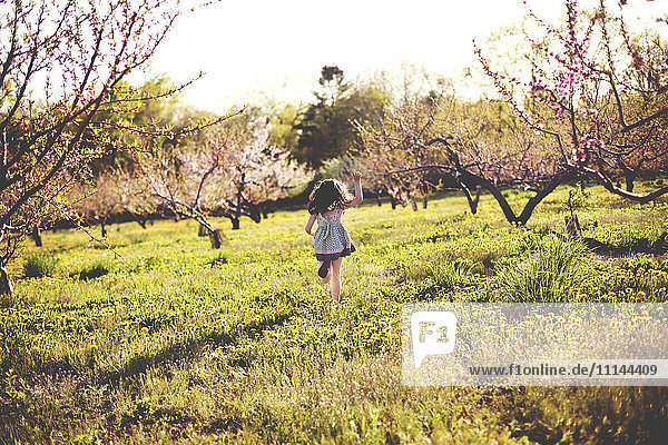 Girl playing in rural field