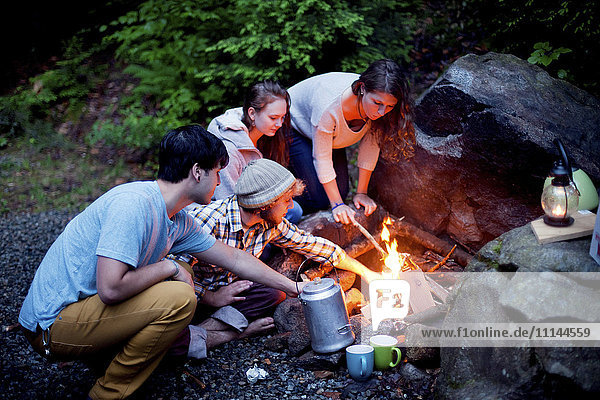 Friends roasting marshmallows over forest campfire