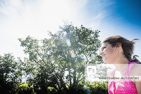 Mixed race woman walking outdoors
