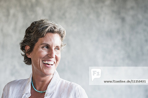 Caucasian woman laughing