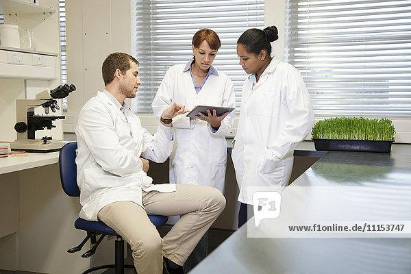 Scientists using digital tablet in laboratory