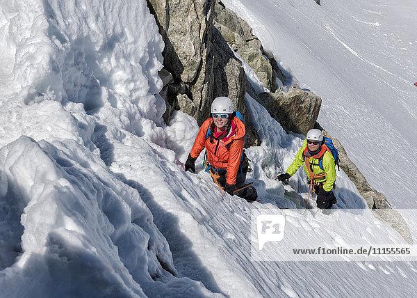 Frankreich  Chamonix  Alpen  Petit Aiguille Vert  Alpinisten