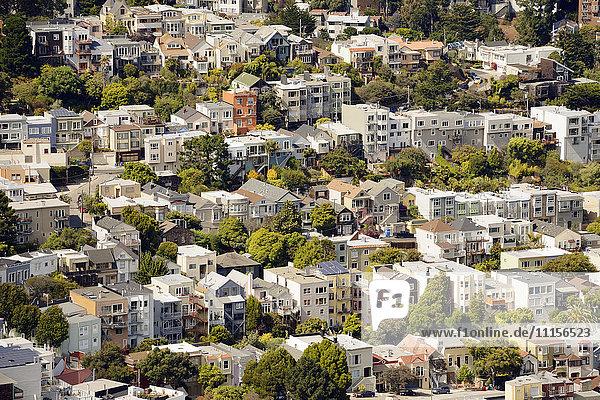 USA  Kalifornien  San Francisco  Blick von Twin Peaks auf die Wohngegend Corona Heights