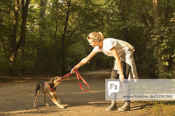 Junge Frau spielt mit ihrem Hund auf einem Waldweg
