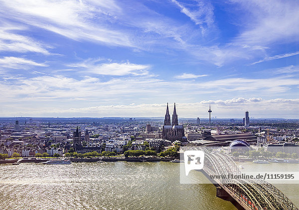 Germany  Cologne  view to the city with Hohenzollern Bridge and Rhine River in the foreground from above