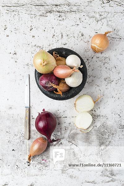 Verschiedene Zwiebeln in der Schale