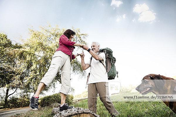 Senior couple with dog on a hike